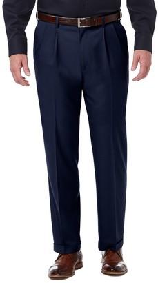 Haggar Mens Premium Comfort Expandable-Waist Classic-Fit Stretch Pleated Dress Pants