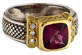 Judith Ripka Diamond & Rhodolite Cocktail Ring