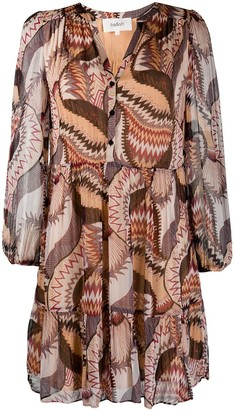 BA&SH Abstract Print Long Sleeve Dress