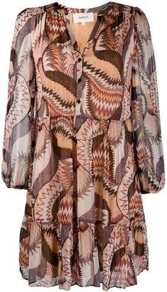 BA&SH Abstract Print Long Sleeve Dress