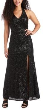 Morgan & Company Juniors' Allover-Sequin Halter Gown