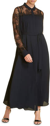 Marina Rinaldi Plus Size Dipinto Long-Sleeve Crepe Dress w/ Lace Details