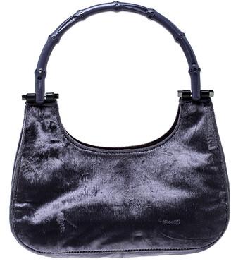 Gucci Purple Velvet Bamboo Top Handle Bag