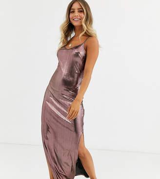 Wednesday's Girl maxi cami dress in metallic-Gold