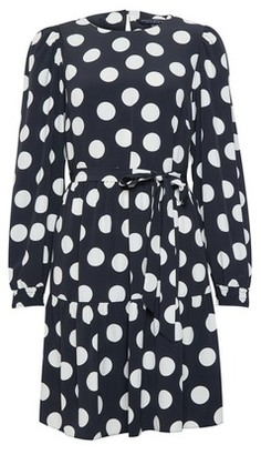 Dorothy Perkins Womens Black And White Spot Print Puff Sleeve Fit And Flare Mini Dress, Black