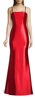 Faviana Satin Open-Back Mermaid Gown