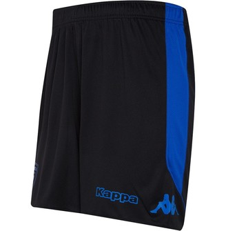 Kappa Mens SC Bastia Third Shorts Black/Blue Fluo