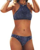 Zrong Women High Neck Bikini Sets Denim Fabric Swimsuits Bathing Suit