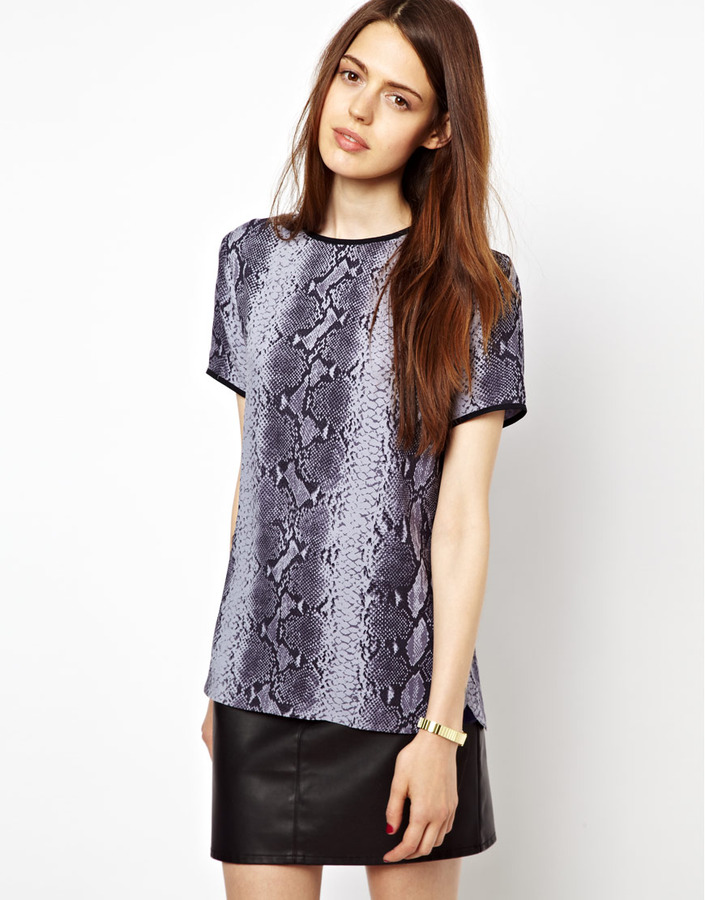 Paul Smith Paul by Lilac Snake Print Woven Shell Top
