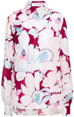 Carolina Herrera Floral-print Silk-organza Shirt