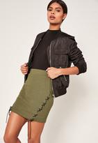 Missguided Khaki Ribbed Lace Up Side Mini Skirt