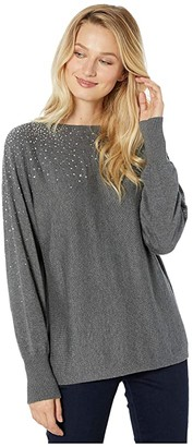 Vince Camuto Long Sleeve All Over Embellished V-Back Sweater (Medium Heather Grey) Women's Sweater