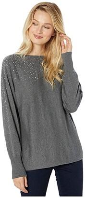 Vince Camuto Long Sleeve All Over Embellished V-Back Sweater
