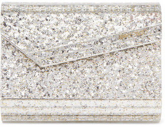 Jimmy Choo Candy Glittered Acrylic Clutch - Silver