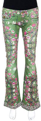 Roberto Cavalli Green Floral Print Denim Flared Jeans S