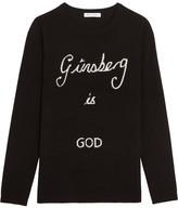 Bella Freud Ginsberg Is God Intarsia Merino Wool Sweater - Black