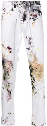 Off-White Off White ink splash print slim-fit jeans