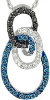 FINE JEWELRY 1/3 CT. T.W. White and Color-Enhanced Blue and Black Diamond Circle Necklace