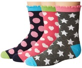Jefferies Socks Dots/Hearts/Stars Crew Socks 3-Pair Pack Girls Shoes