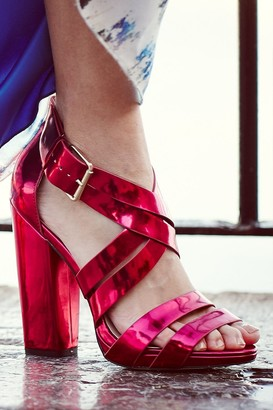 Little Mistress Pink Cross Over Multi Strap Heels