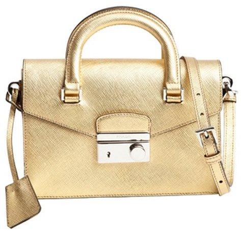 Prada metallic gold leather mini shoulder bag
