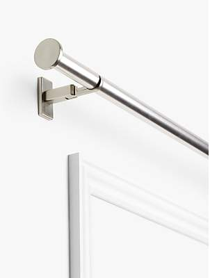 John Lewis & Partners Made to Measure Revolution Eyelet Curtain Pole with Disc Finials, Wall / Ceiling Fix, Dia.30mm