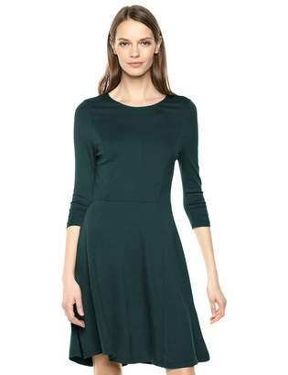 Lark & Ro 3/4 Sleeve Knit Fit and Flare Dress Hunter Green L
