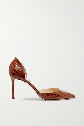 Jimmy Choo Esther 85 Croc-effect Leather Pumps - Tan