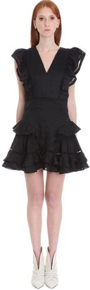 Etoile Isabel Marant Audrey Dress In Black Cotton And Linen