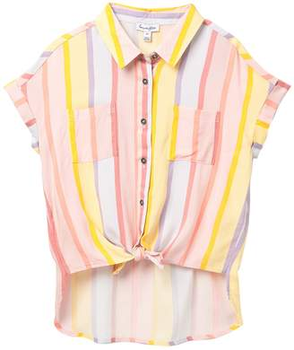 Love, Fire Button Down Tie Front Top (Big Girls)