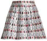 Alice + Olivia Pleated Printed Twill Mini Skirt