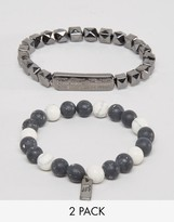 ICON BRAND White Beaded Bracelets In 2 Pack Exclusive To ASOS
