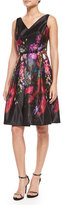 Rickie Freeman For Teri Jon Floral-Print Fit-and-Flare V-Neck Dress