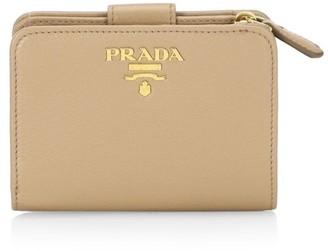 Prada Small Daino Color Leather Tab Wallet