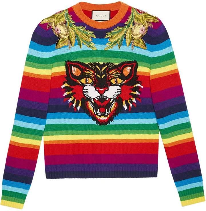 Gucci Striped wool intarsia sweater with appliqués