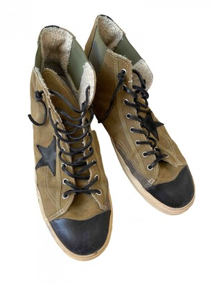 Golden Goose Green Cloth Trainers