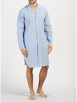 John Lewis Poplin Stripe Nightshirt, Blue/white