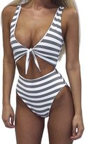 Shinekoo Women Sexy Stripe Swimwear One Piece Beachwear Boho Swimsuit