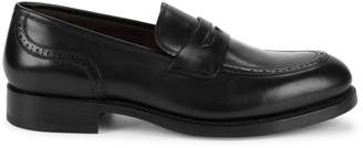 Canali Leather Brogue Penny Loafers