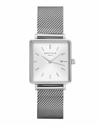 ROSEFIELD Women's Watch The Boxy White Dial Sunray Mesh Silver Strap Sunray Silver Square Case QWSS-Q02