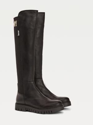 Tommy Hilfiger Logo Stitching Elasticated Long Boots