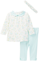 Little Me Aqua Flowers Tunic & Headband Set (Baby Girls)