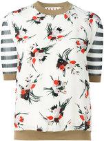 Marni striped floral print top - women - Silk/Cotton/Polyamide - 40