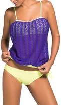 Crazycatz@Women Two Pieces Blouson Tankini sets Swimwear Crochet Swimwear