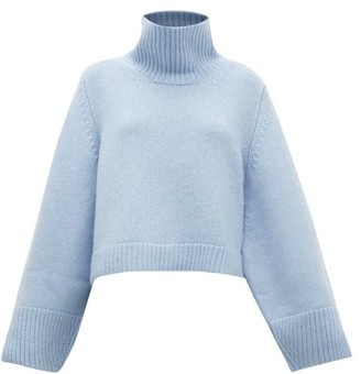 KHAITE Marion Split-cuff Cashmere Sweater - Womens - Light Blue