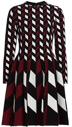 Oscar de la Renta Checkered Chevron Knit Fit-&-Flare Dress