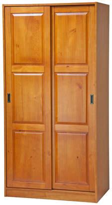 Palace Imports 100% Solid Wood 2-Sliding Door Wardrobe/Armoire/Closet, Honey Pine