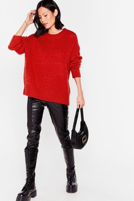 Nasty Gal Womens Knit the Big Time Crew Neck Sweater - Rust