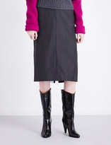 Calvin Klein Wall Street wool and silk-blend pencil skirt