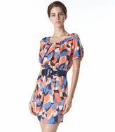 Plastic island graphic-print dress